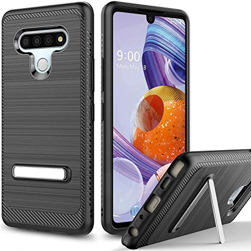 Androgate LG Stylo 6 Case with Kickstand, Hybrid Shockproof Raised Lip Protective Cover Bumper Case, Black
