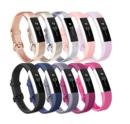 INF Paquete de 10 Pulseras para Fitbit Alta/HR - Mezcla de Colores - S, Pulsera Fitbit Alta HR, Pulsera Deportiva Suave de Repuesto Ajustable para Fitbit Alta HR y Fitbit Alta, de Silicona