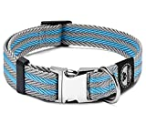 Pet Collar with Metal Buckle and D Ring   Durable Dog Collar with Reinforced Metal Clasp and Nylon Webbing Adjustable Dog Collar to fit Small Dog or a Puppy (Medium, Blue / Gray Stripe)