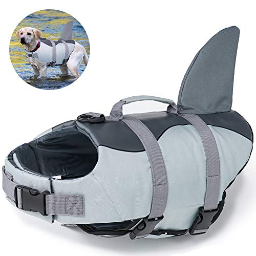 EMUST Large Dog Life Jacket, Dog Life Vests for Swimming, Float Coat Swimsuits Flotation Device Life Preserver Belt Lifesaver Flotation Suit for Pet, XL