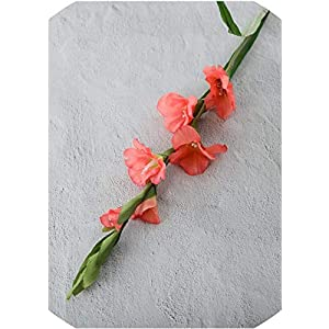 99Cm 6 Heads Artificial Gladiolus Decor Home Garden Wedding Flower Fake Plant,Pink,Size:One Size,Color:Red (Color : White, Size : One Size)