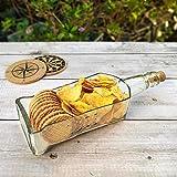 Windup Recycled Wine Bottle Serving Platter Dish Tray Kitchenware Glassware (Rectangular – Transparent) - Pack of 1