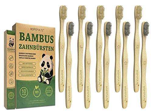 Bambus Zahnbürsten 10er Pack, 100% BPA frei Holzzahnbürste für Beste Sauberkeit, Vegan Bambuszahnbürste mit weich Aktivkohle Borsten, Verschieden Marker und Recycelbar Individuelles Packung