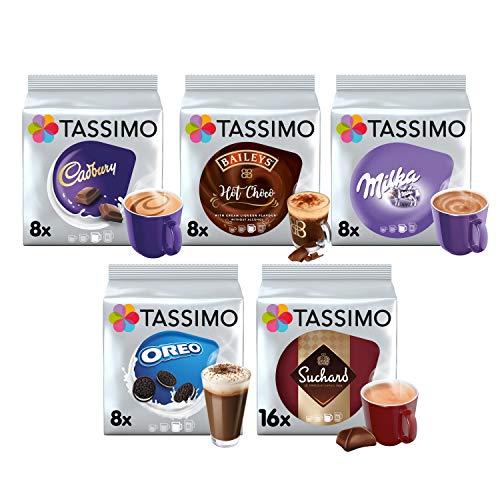 Tassimo Hot Choco Bundle - Cadbury, Oreo, Milka, Baileys, Suchard Schoten - Packung mit 5 Stück (48 Portionen)