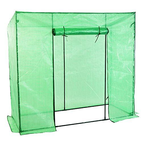 FineHome Foliengewächshaus Gewächshaus inkl. Gitternetzfolie und Rolltür für Garten für Tomaten zur Aufzucht mit Schrägdach Grün 200 x 77 x 169cm (LxBxH)