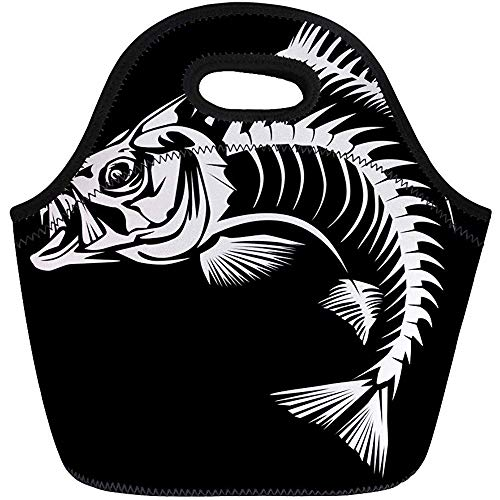 Bolsa De Almuerzo,Pesca Bajo Pescado Esqueleto Blanco Walleye Gancho Señuelo Animal Reutilizable Enfriador Bolsas Aisladas Bolso De Picnic Térmico Para Viajes, Escuela, Aire Libre, Trabajo