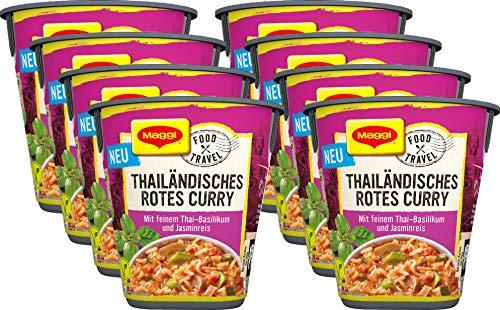 Maggi Food Travel Cup Thailändisches Rotes Curry mit feinem Thai-Basilikum und Jasminreis, Thai Curry, 8er Pack (8 x 46g)