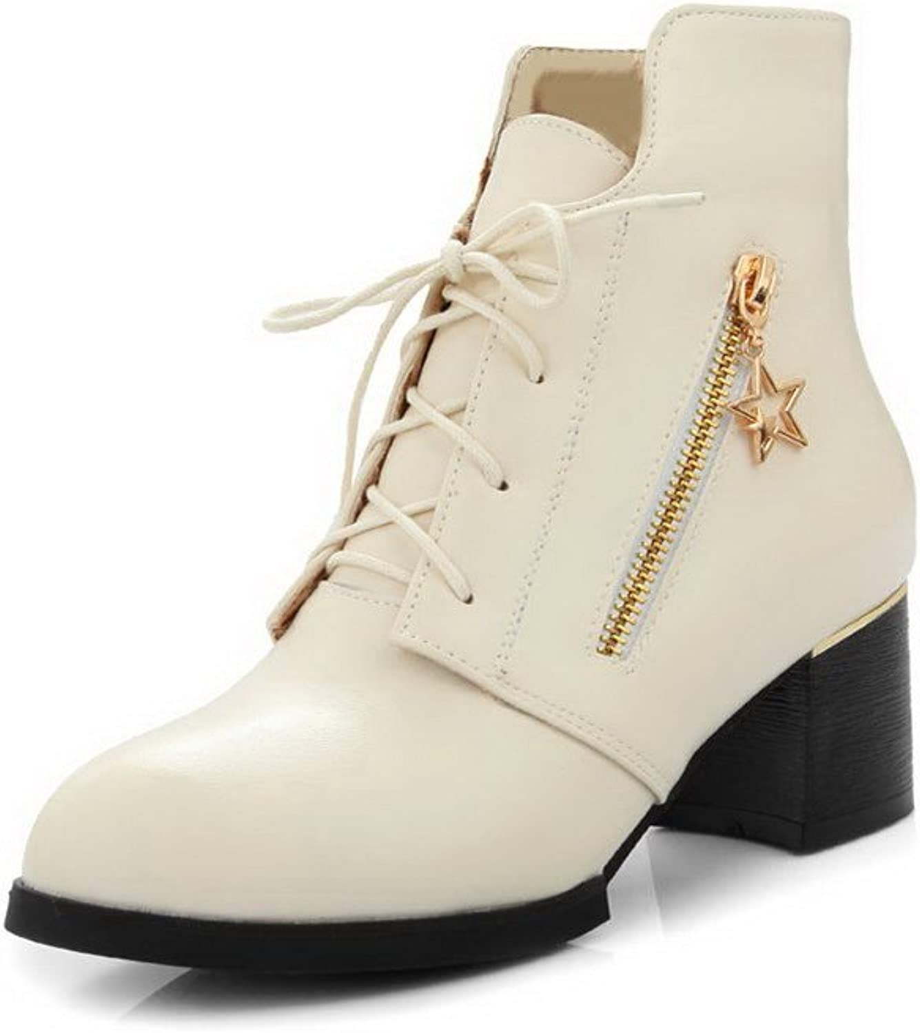 AllhqFashion Women's Lace up Pointed Closed Toe Kitten Heels Pu Low Top Boots