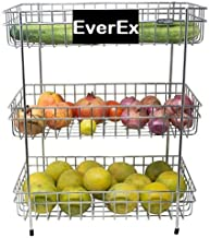 EverEx™ Stainless Steel 3-Tier Fruits & Vegetable Onion Trolley Container Basket Organizer Organiser Holder Stand for Kitchen (Multipurpose Spice Kitchen Storage Shelf Shelves Rack)(100% Rust Free)