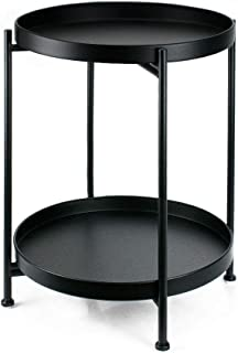 Metal Side Table 2-Tier Round End Table for Living Room Tray Coffee Table for Bedroom Nightstand (Black)