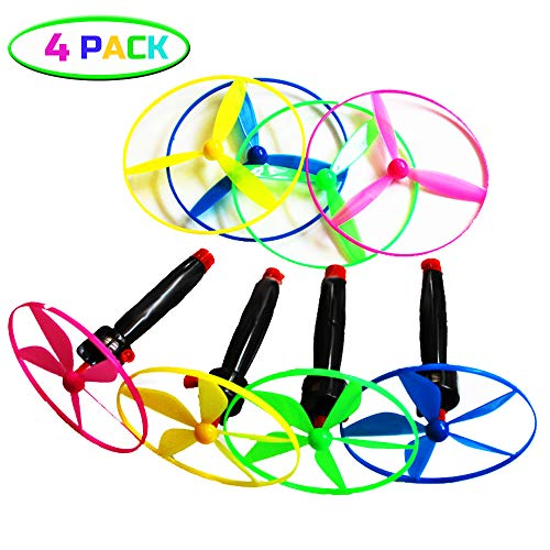 EPCHOO 4 Stück Propellerspiel Twirly mit Starter, Propeller Fliegende Untertasse Flugkreisel Spiel für Kinder Party Mitgebsel Außen und Innen