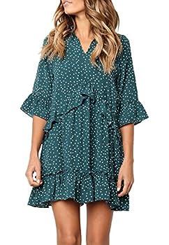 MITILLY Women s V Neck Ruffle Polka Dot Pocket Loose Swing Casual Short T-Shirt Dress Medium Green