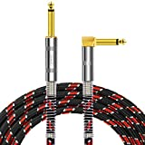 NUOSIYA 6 Ft Guitar Cable, pro Mono Gold-Plated Plug Audio Cord 6 feet, Right Angle 1/4 inch TS to Straight 1/4 inch TS, red-Black Tweed Cloth Jacket, Universal Electric Guitar/bass.