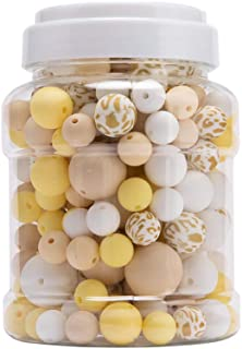 HAO JIE Baby Silicone Beads 200pcs (12mm 15mm 20mm) BPA Free Organic Nursing DIY Necklace Bracelets Bright Yellow