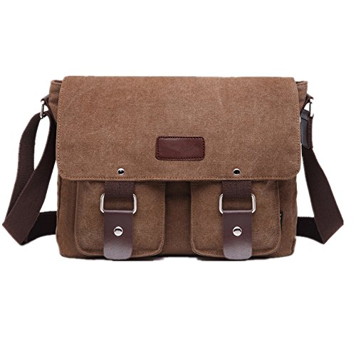 Mens Retro Canvas Leather Messenger Bag Travel Shoulder Bags Crossbody Sports Vintage Pack Retro Side Bag Handbag Hiking Camping Bag (Coffee)