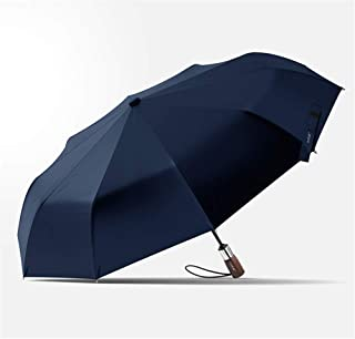 Ten Strong Bone Reinforcing Automatic Three Folding Umbrella Windproof Umbrella Double Blue Or Black Color Optional,Blue