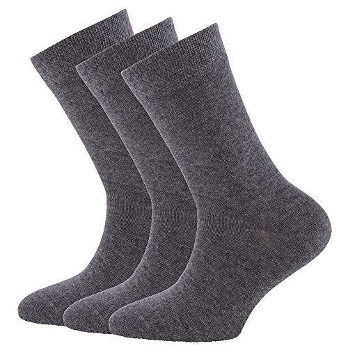 Ewers Socken für Jungen, Mädchen, Damen und Herren 3er Pack, Made in Europe, Baumwolle Uni Damensocken, Herrensocken