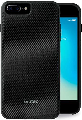 Evutec Compatible with iPhone 6 Plus/6s Plus/7 Plus/8 Plus Unique Heavy Duty Case Ballistic Nylon Premium Protective Military Grade Drop Tested Shockproof Phone Cover with AFIX+ Vent Mount-Black