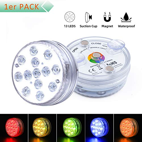 Unterwasser Licht, Wasserdichtes LED Licht, Mehrfarbige RGB-13-LED-Perlen mit RF-Fernbedienung, Poollampe für Swimmingpool, SPA, Vasenbasis, Aquarium, Teich, Inneneinrichtung (1er Pack)