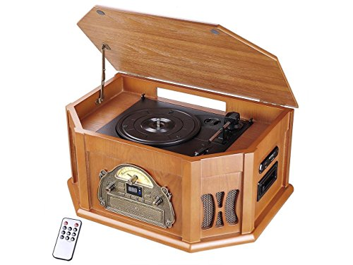 CHIMAERA Vintage Stereo System Record Player Turntable with AM/FM Radio Bluetooth USB Connectivity and Remote Control (Wood)