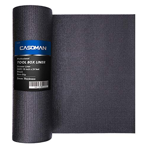 CASOMAN Professional Tool Box Liner and Drawer Liner,Easy Cut Non-Slip Foam Rubber Toolbox Drawer Liner Mat - Adjustable Thick Cabinet Liners,Black,18 inch (wide) x 24 feet (long)