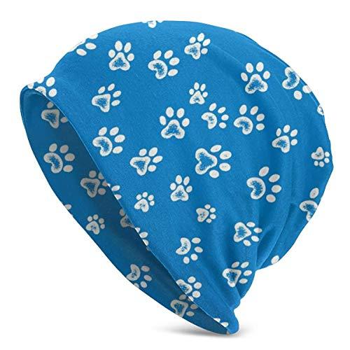 JJsister Wintermütze,Strickmütze,Beanie Mütze Dog Paws Pattern Beanie Hat Cute Warm Hat Stretch Casual Headwear