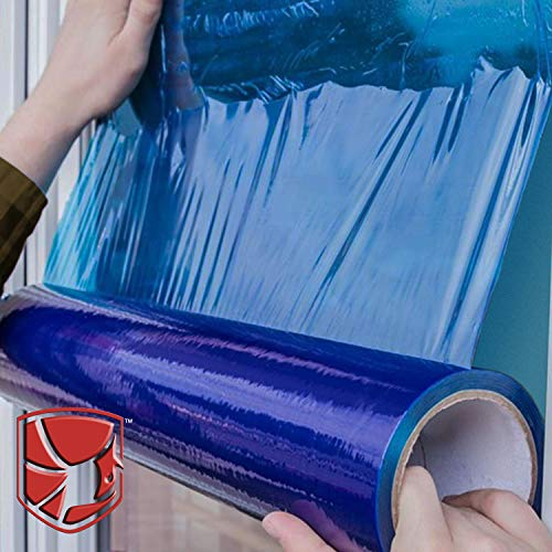 Protective Film for Window Glass, Blue Window Shield Adhesive Film, Window Masking Film with 45 Day UV Protection. 21�x 600 feet Poly Window Protection Film with Utility Knife.