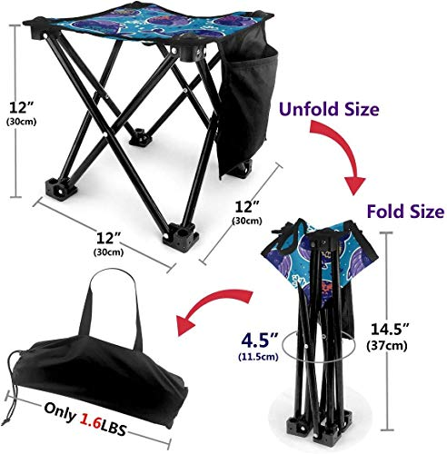 LLOOP Camping Stool Folding Camo Whale Funny Undersea Portable Chair Camping Hunting Fishing Travel with Carry Bag