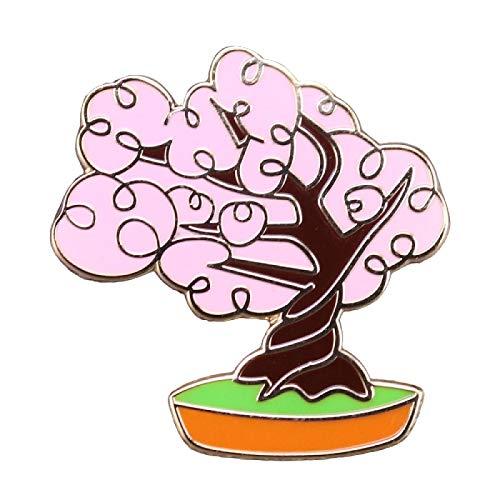 wangk Sakura Brosche Pin rosa Kirschblüte Bonsai Baum Abzeichen süße Blume Pflanze Liebhaber Schmuck
