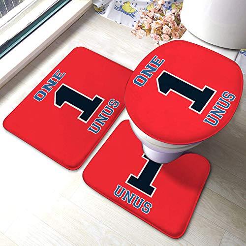 YHKC Hogar Jardín Hogar Cocina Categorías Baño Alfombrillas de baño Bath Mat 3 Piece Set Absorbent Carpet Alphabet Font Number 1 Stamp Badge Includes U-Shaped Contour Toilet Mat, Bath Mat and TOI