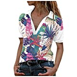 Dosoop Women's Floral Print Graphic Shirt Short Sleeve Turn Down Collar V Neck Casual T-Shirt Pullover Henley Tee Blouse
