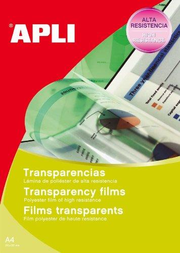 Apli 1269 - Láminas para transparencias (20 unidades, para impresión de inyección de...