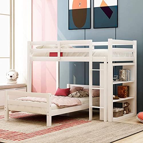 MWKL La más Nueva litera en Forma de L con Dos Camas Individuales y estantes para niños/Adolescentes/niños, se Puede Separar en 2 Camas