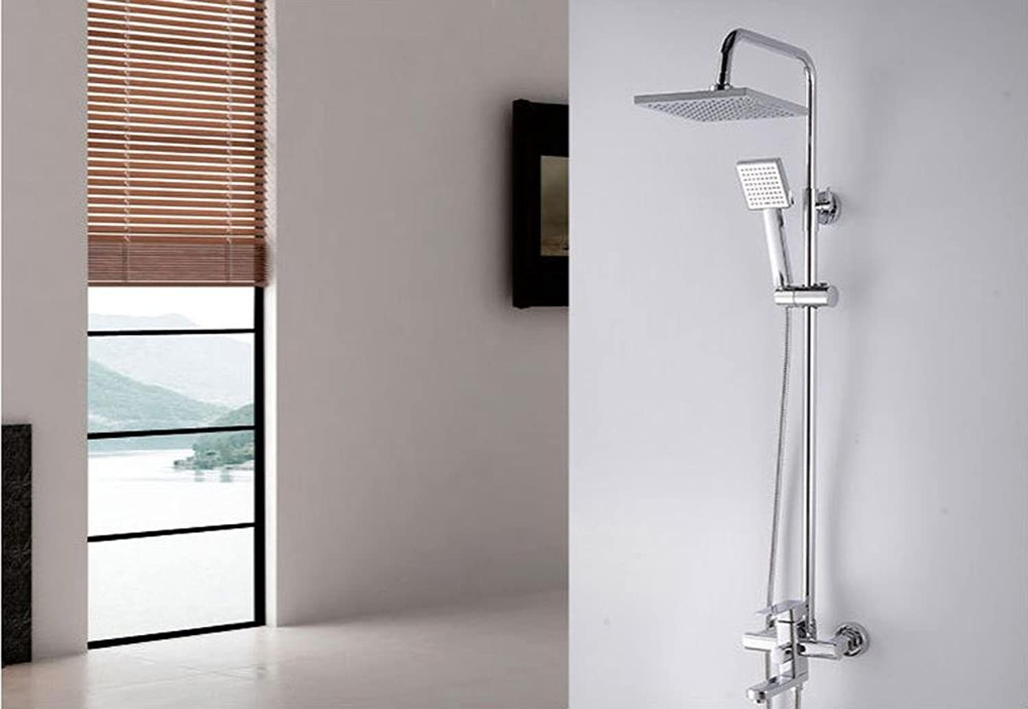 KHSKX Modern shower with water set swivel square shower head and hand-held shower
