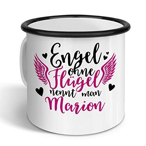 printplanet - Emaille-Tasse mit Namen Marion - Metallbecher mit Design Engel - Nostalgie-Becher, Camping-Tasse, Blechtasse, Farbe Schwarz, 400ml
