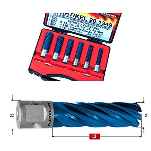 6 x HSS-XE Set DURABLUE Kernbohrer, Blue-Line55, Nutzlänge 55mm, Nitto/Uni-Schaft 19mm, je 1 Stk Ø 14, 16, 18, 20, 22, 26mm, 2 Auswerferstifte, für Edelstahl Stahl Guss Alu Titan Hardox Schienen