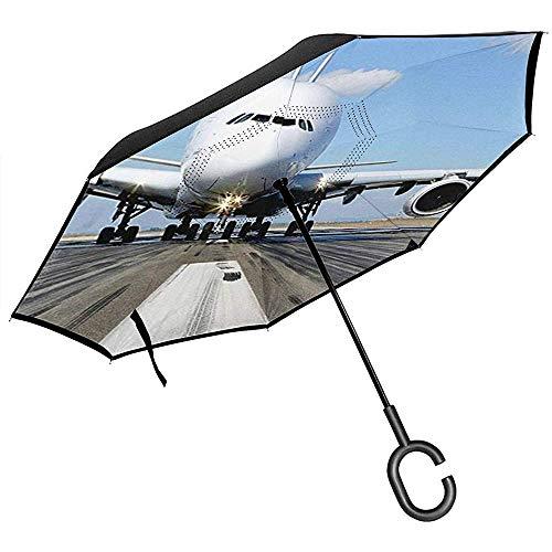 Double Layer Inverted Umbrella Mit C-förmigen Griff, Regenschirme Unisex Mit UV-Schutz Windproof-A380 Flugzeug