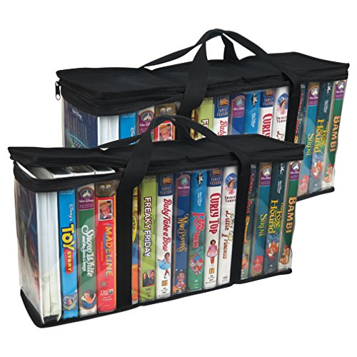 Evelots VHS Storage Bag-Movie Organizer-Video Tape-Handles-Hold 30-No Dust-Set/2