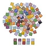 PandaHall Circa 260 Pezzi 10 mm Tessere di Mosaico di Vetro quadrate Mini Tessere di Mosaico di Cristallo Decorativo per la Decorazione Domestica Artigianato creazione di Gioielli, Colori Misti