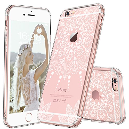MOSNOVO iPhone 6S Case/iPhone 6 Clear Case, White Henna Mandala Floral Lace Clear Design Printed Transparent Plastic Back Phone Case with TPU Bumper Protective Case Cover for iPhone 6/6S (4.7 Inch)