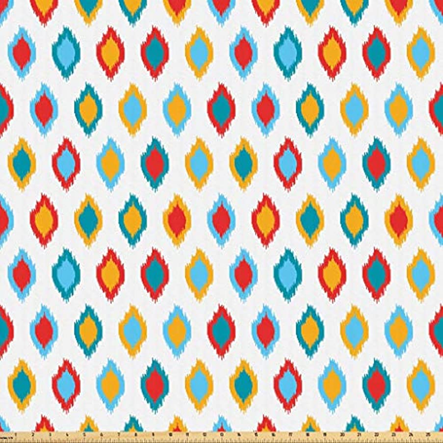 Lunarable Ikat Fabric by The Yard, Oriental Traditional Asian Motifs Ikat Patterns Exotic Design Ancient Old, Microfiber Fabric for Arts and Crafts Textiles & Decor, 3 Yards, Yellow Blue White Red