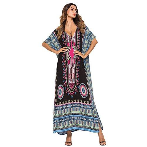 KOERIM Mujer Kaftan Playa Vestido Largo,Kaftan Elegante Larga en Algodón,Bohemia Kimonos Cover Up