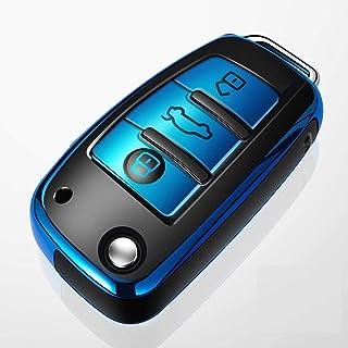 For Audi A8 A6 A3 Q3 Q7 R8 Folding Remote Key, TPU+ABS Car Key Cover Case