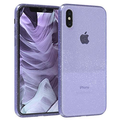 EAZY CASE Hülle kompatibel mit Apple iPhone X/XS Schutzhülle mit Glitzer, Handyhülle, Schutzhülle, Back Cover mit Glitter, TPU/Silikon, Transparent/Durchsichtig, Lila
