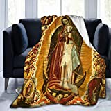 Mexican Religious Catholic Virgin Mary Our Lady of Guadalupe Virgen De Guadalupe Flannel Fluffy Full Fleece Throw Blanket Queen King Size Comforter Soft Cozy Quilt Nursery Bedding Decor Bedroom