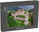 monpuzzlephoto Puzzle 1000 pièces Vue aérienne du château médiéval de Gruyère, Canton de Fribourg, Suisse - Puzzles Classiques dans Une boîte Noble avec Motif.