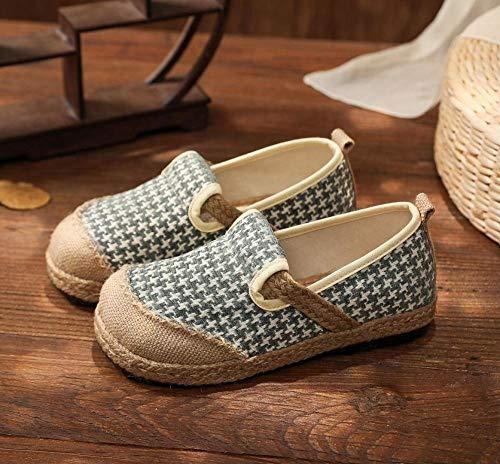 Zapatos bordados para mujeres Houndstooth Bordado Mujeres Hecho A Mano De Algodón De Algodón En Mocasines Ladies Casuales Cómodos Zapatillas De Zapatillas De Cáñamo Plano Zapatillas de bailarina HSHUI