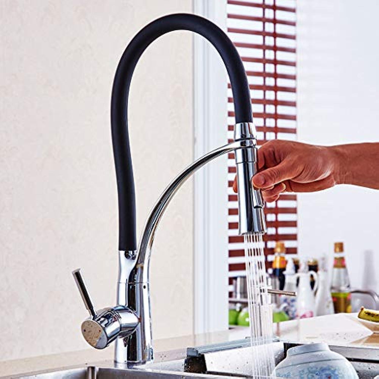 WXL Küche hei und kalt Waschbecken Waschbecken Pool Kupfer Krper rotierenden heien und kalten Wasserhahn V (Farbe   Schwarz)