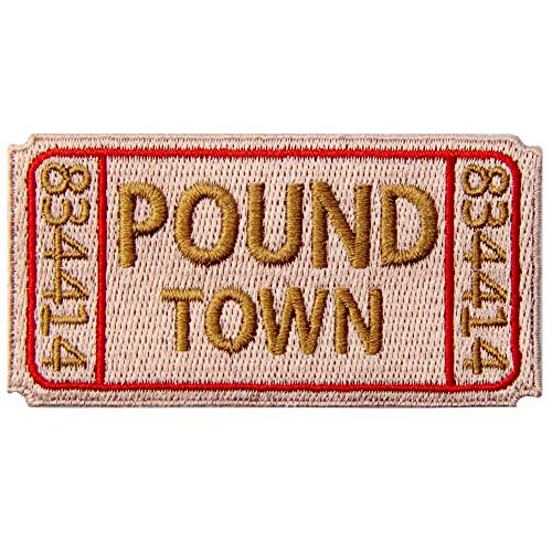 Ticket to Pound Town Patch Embroidered Funny Biker Morale Applique Iron On Sew On Emblem