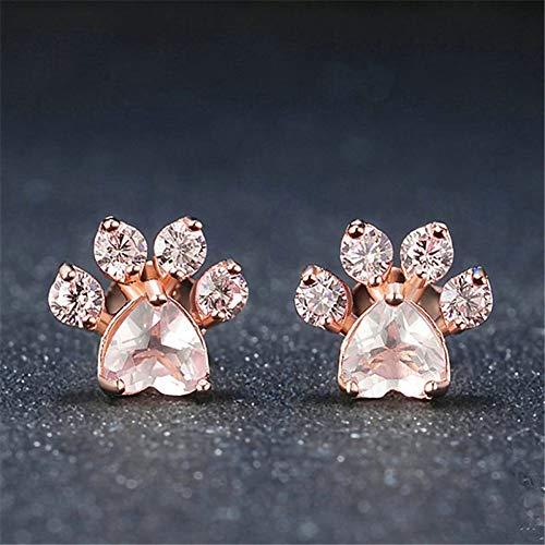 GUOZHENG Trendy Süße Katzenpfote Ohrringe Für Frauen Fashiong Rose Gold Ohrring Pink Claw Print Bär Und Hund Pfote Ohrstecker , Roxd Dog